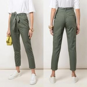 NWT Sundry Tie Waist Paper Bag Green Trousers